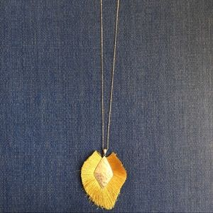 Jewelry - NWT Yellow & Gold Fringe Statement Necklace